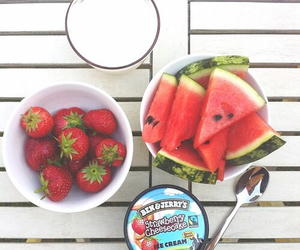 food, strawberry, and watermelon image