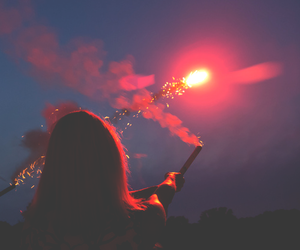 girl, fireworks, and light image
