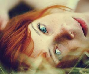 beautiful, red hair, and blue image