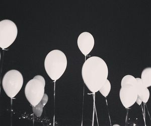 balloons, grunge, and black and white image
