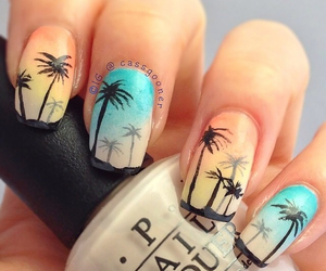 nails, palms, and summer image