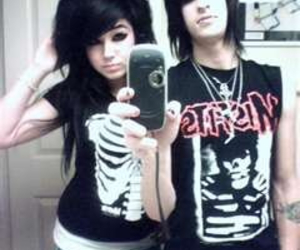emo, black, and couple image