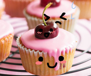 cupcake, sweet, and cherry image