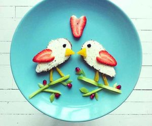 food, bird, and strawberry image