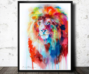 animal art, animal poster, and watercolor poster image