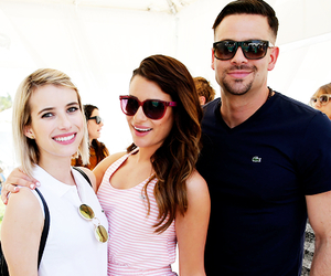 lea michele, mark salling, and emma roberts image