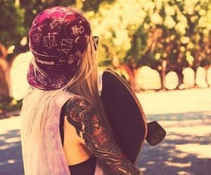 girl, tattoo, and skate image