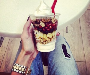 fruit, food, and jeans image