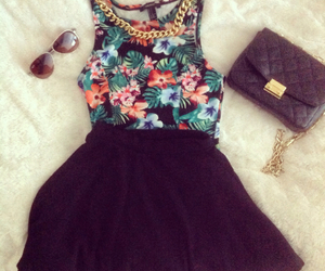 flowers, outfit, and black image
