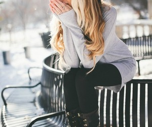 winter, blonde, and style image