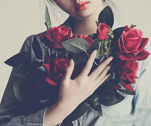 beautiful, girl, and roses image