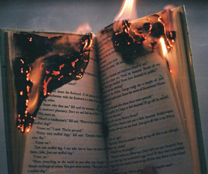 book, fire, and burn image