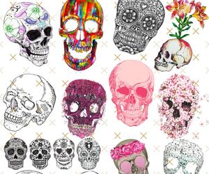 skull, wallpaper, and flowers image