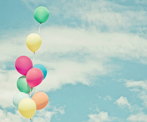 balloons, sky, and blue image