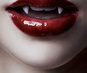 vampire, lips, and red image