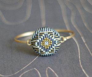 bracelet, brass, and cross stitch image