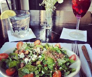 food, salad, and wine image