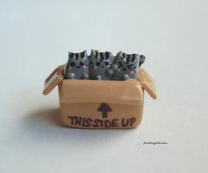 etsy, polymer clay, and grey cats image