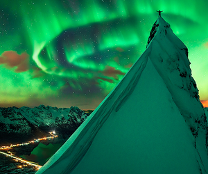 mountain, norway, and sky image