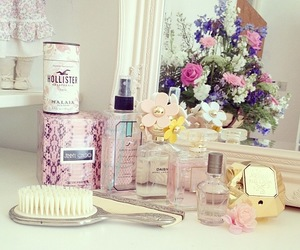 perfume, pink, and flowers image