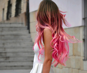 hair, blue, and pink image