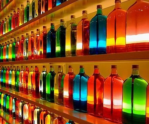 bottles, colorful, and rainbow image