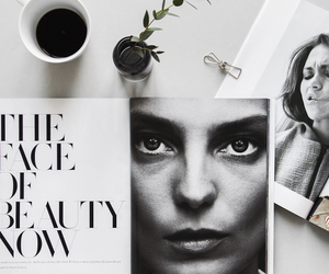 coffee, magazine, and black and white image