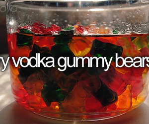 drink, funny, and gummy bears image