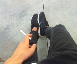 boy, nike, and cigarette image