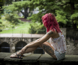 girl, tattoo, and pink hair image