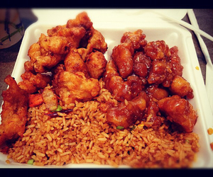 chinese food and sesame chicken image