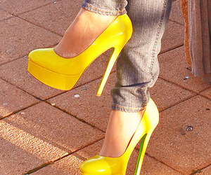 shoes, yellow, and heels image