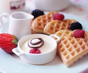 food, breakfast, and waffles image