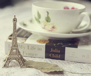 book, cup, and eiffel tower image