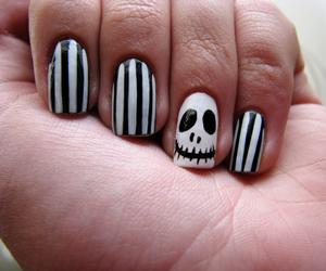 black and white, jack skellington, and nail art image