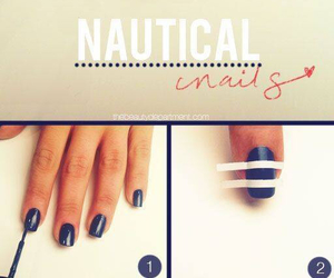 nails, nautical, and blueandwhite image