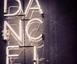 black and white, dance, and neon image
