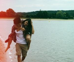 beach, couple, and piggyback image