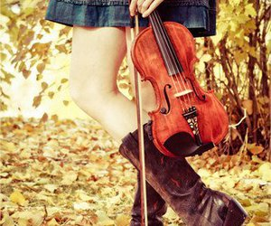 violin, autumn, and girl image