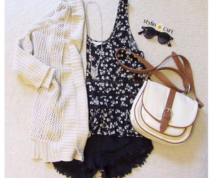 bag, cardi, and outfit image