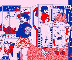 arcade, girls, and illustration image