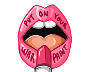 feminism, lips, and war paint image