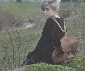 backpack and short hair image