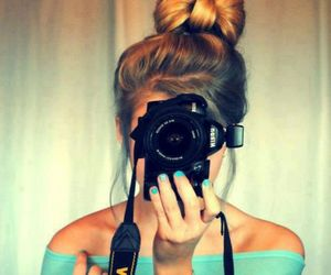 girl, camera, and hair image