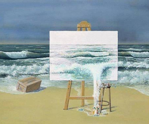 3D art, beach, and draw image