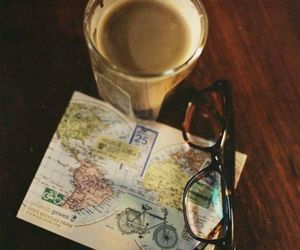 coffee, traveling, and map image
