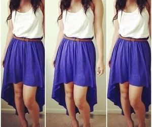 dress, pretty, and white& blue image