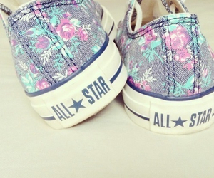 all star, flowers, and converse image
