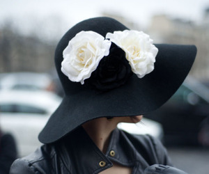 hat, fashion, and flowers image