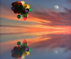 balloons, moon, and photography image